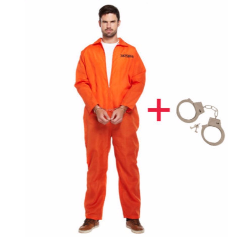 MENS PRISONER OVERAL ORANGE JUMPSUIT CONVICT STAG DO PARTY FANCY DRESS COSTUME